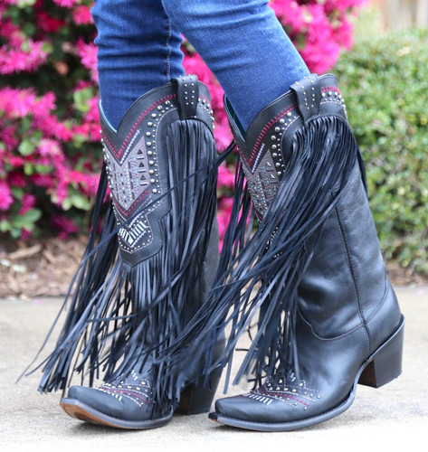 Corral Black Multicolor Crystal Pattern and Fringe Boots C2951
