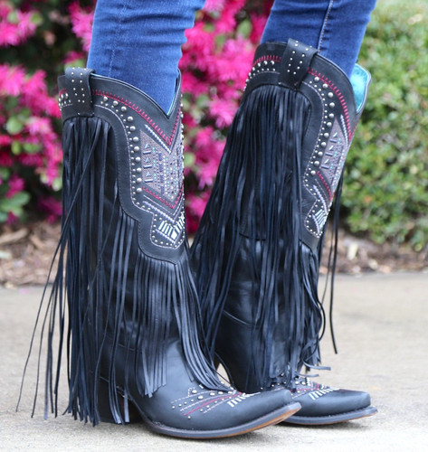 Corral Black Multicolor Crystal Pattern and Fringe Boots C2951 Image