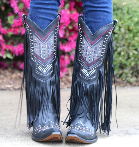 Corral Black Multicolor Crystal Pattern and Fringe Boots C2951 Toe