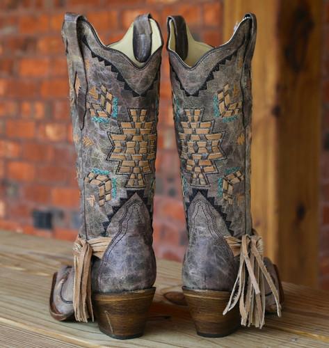 Corral Cango Tobacco Laser Woven Boots A2992 Heel