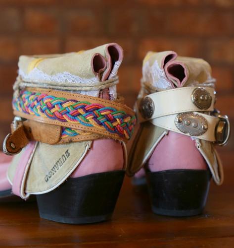 The Feather Junkie Pink Durango Vintage Boots Size 9 Heel