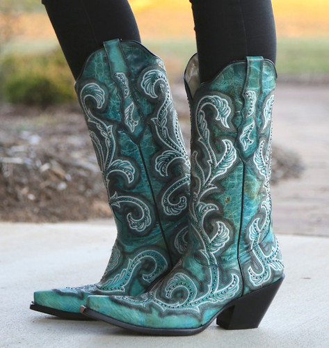 Corral Turquoise Shaded Embroidery and Studs Boots G1249 Image