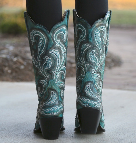 Corral Turquoise Shaded Embroidery and Studs Boots G1249 Heel