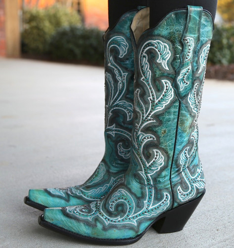 Corral Turquoise Shaded Embroidery and Studs Boots G1249 Side