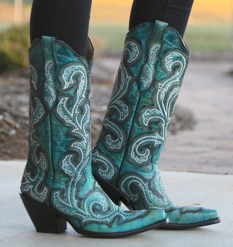 Corral Turquoise Shaded Embroidery and Studs Boots G1249 Picture