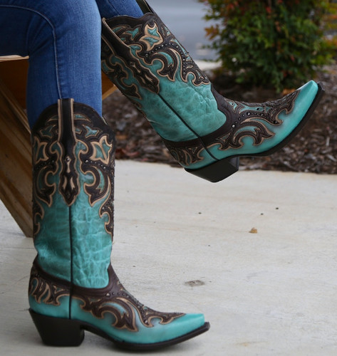 Corral Turquoise Chocolate Inlay and Studs Boots G1184