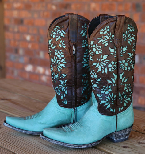 "Old Gringo Mary Lou Zipper 13"" Aqua Brass Boots L2101-1 Image"