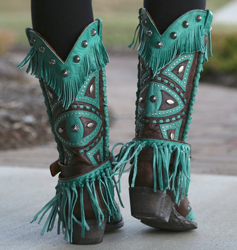 Old Gringo Buho Brass Turquoise Boots L2249-2 Heel