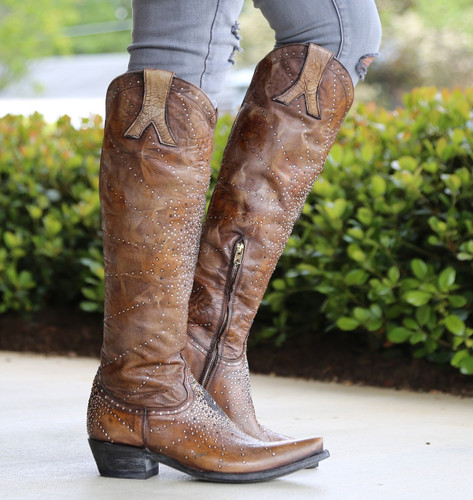 "Old Gringo Celina Crystal 18"" Brown Boots L2186-2 Image"