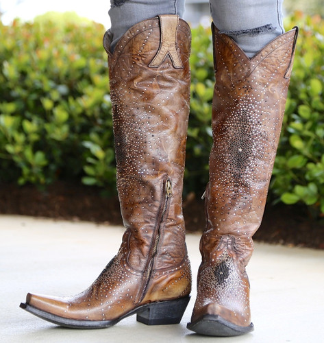 """Old Gringo Celina Crystal 18"""" Brown Boots L2186-2 Picture"""