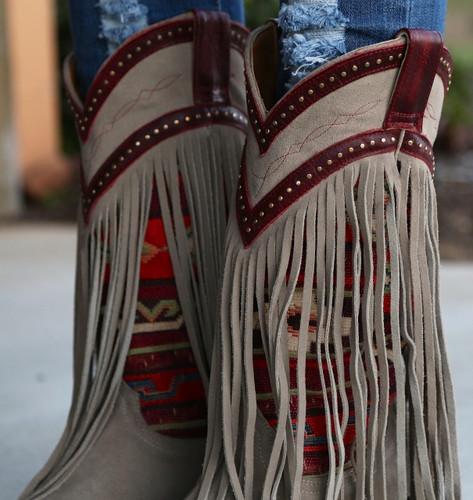 Old Gringo Crudge Bone Red Boots L2257-1 Fringe