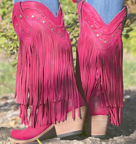 Liberty Black Vegas Fringe Boots Bordeaux Pink LB71124 Heel