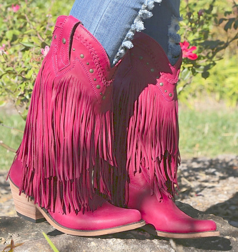 Liberty Black Vegas Fringe Boots Bordeaux Pink LB71124 Image
