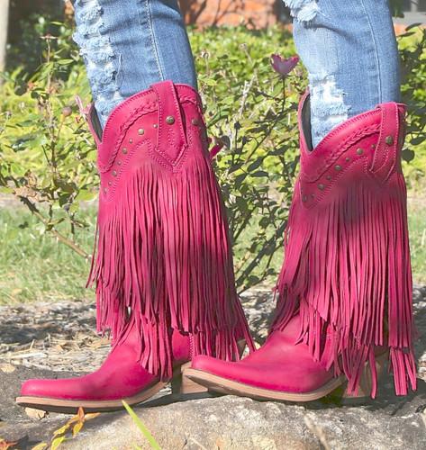 Liberty Black Vegas Fringe Boots Bordeaux Pink LB71124 Picture