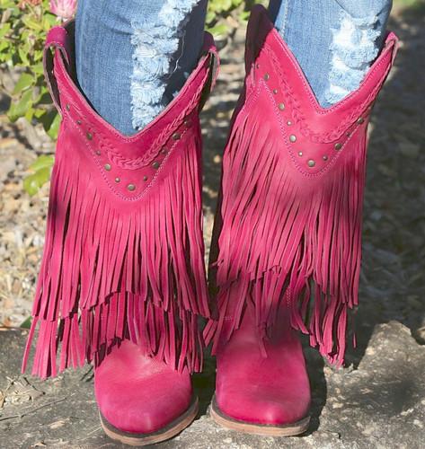 Liberty Black Vegas Fringe Boots Bordeaux Pink LB71124 Toe