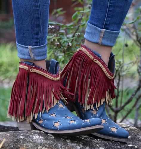Liberty Black Vegas Russian Blue Stars & Fringe Boots LB712923 Image