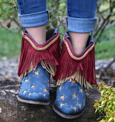 Liberty Black Vegas Russian Blue Stars & Fringe Boots LB712923 Toe
