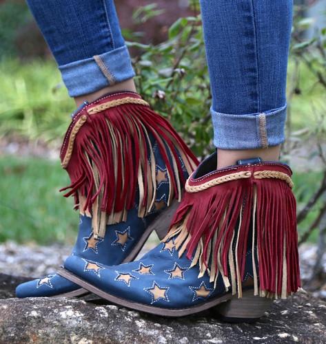 Liberty Black Vegas Russian Blue Stars & Fringe Boots LB712923 Picture