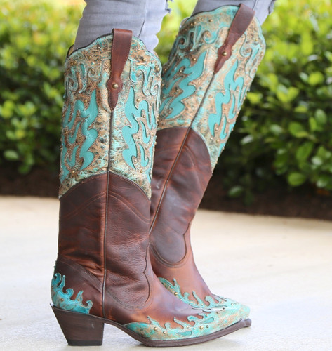 Corral Brown Turquoise Inlay Double Shaft Boots R1332 Image
