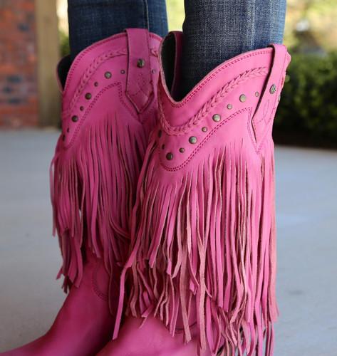 Liberty Black Vegas Fringe Boots Lipstick LB71124 Collar