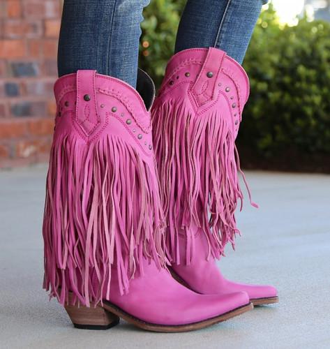 Liberty Black Vegas Fringe Boots Lipstick LB71124 Side