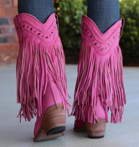 Liberty Black Vegas Fringe Boots Lipstick LB71124 Heel