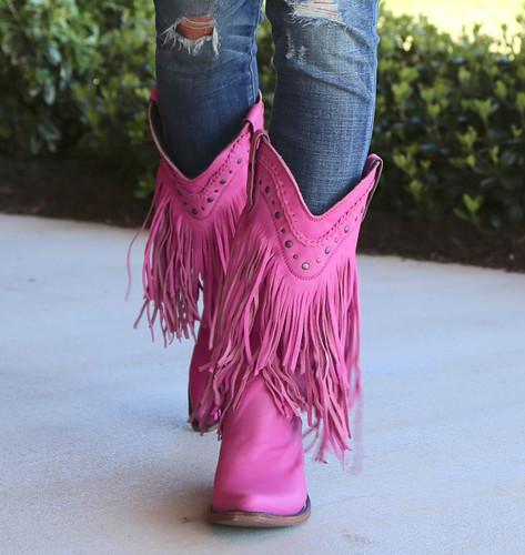 Liberty Black Vegas Fringe Boots Lipstick LB71124 Front