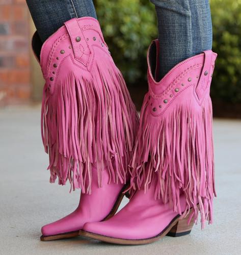 Liberty Black Vegas Fringe Boots Lipstick LB71124