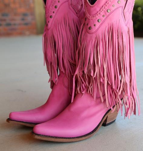 Liberty Black Vegas Fringe Boots Lipstick LB71124 Toe