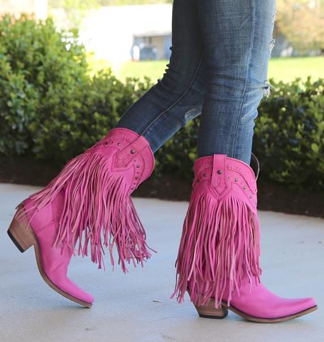 Liberty Black Vegas Fringe Boots Lipstick LB71124 Image