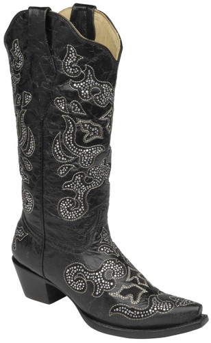 Corral Black Inlay and Crystals Boots A1192 Image