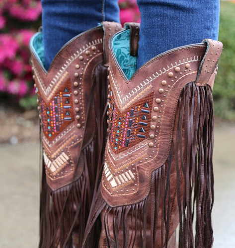 Corral Cognac Multicolor Crystal Pattern and Fringe Boots C2929 Studs