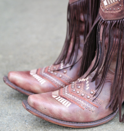 Corral Cognac Multicolor Crystal Pattern and Fringe Boots C2929 Toe