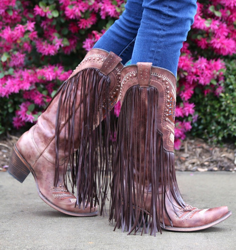 Corral Cognac Multicolor Crystal Pattern and Fringe Boots C2929 Walk