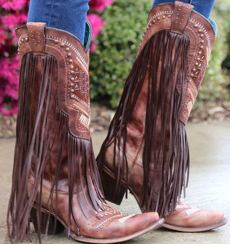 Corral Cognac Multicolor Crystal Pattern and Fringe Boots C2929 Side