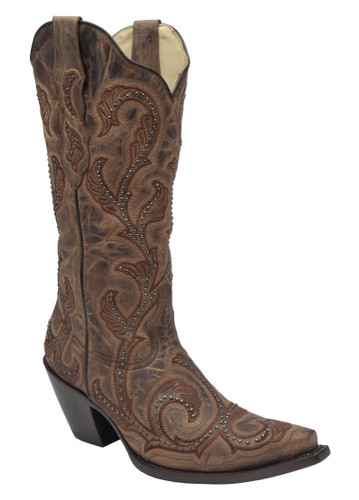 Corral Brown Embroidery and Studs Boots G1240 Picture