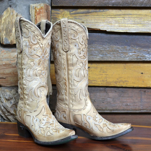 Lane Robin Distressed Bone Boots LB0237B Picture