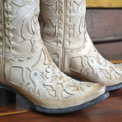 Lane Robin Distressed Bone Boots LB0237B Image