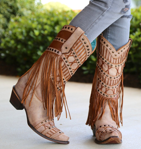 Corral Tan Fringed Layers And Studs Boots C2988 Image