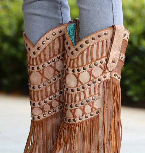 Corral Tan Fringed Layers And Studs Boots C2988 Collar