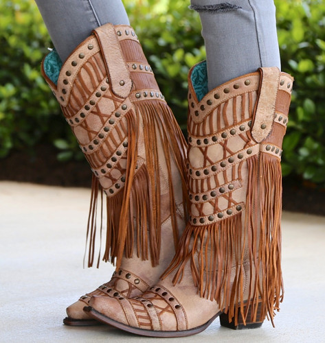 Corral Tan Fringed Layers And Studs Boots C2988 Side