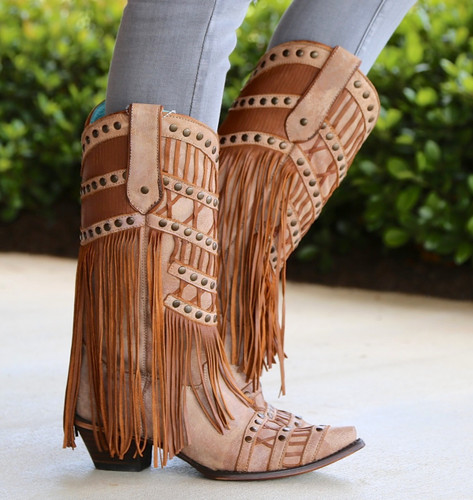 Corral Tan Fringed Layers And Studs Boots C2988 Photo