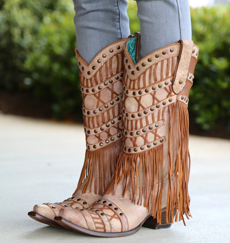 Corral Tan Fringed Layers And Studs Boots C2988 Toe