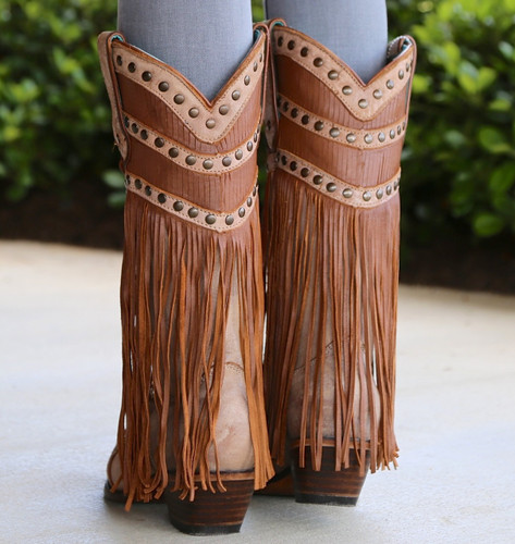 Corral Tan Fringed Layers And Studs Boots C2988 Heel