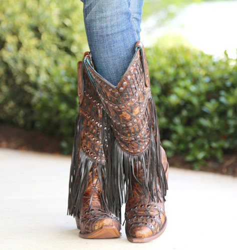 Corral Brown Fringed Layers and Studs Boots C3008 Front