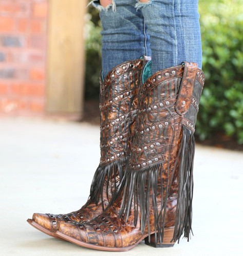 Corral Brown Fringed Layers and Studs Boots C3008 Side