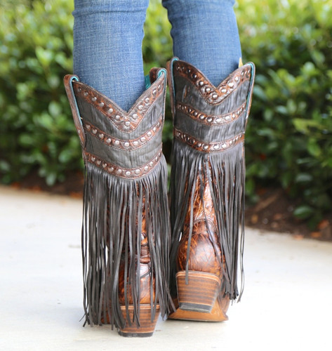 Corral Brown Fringed Layers and Studs Boots C3008 Heel