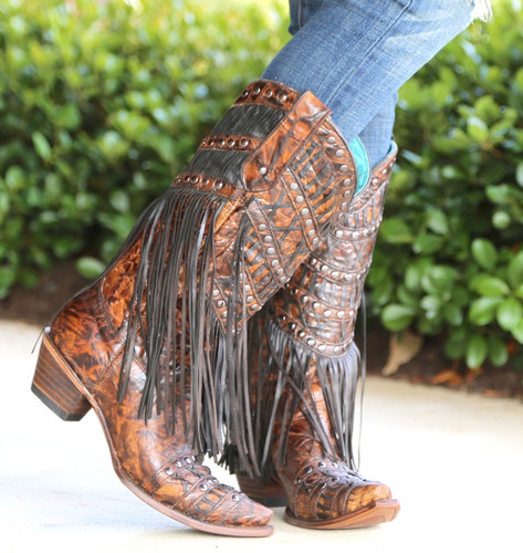 Corral Brown Fringed Layers and Studs Boots C3008 Picture