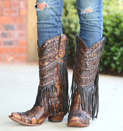 Corral Brown Fringed Layers and Studs Boots C3008 Image