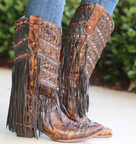Corral Brown Fringed Layers and Studs Boots C3008 Photo